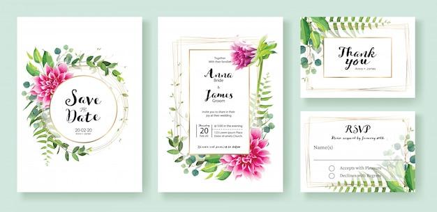 Roze dahlia bloemen bruiloft uitnodiging