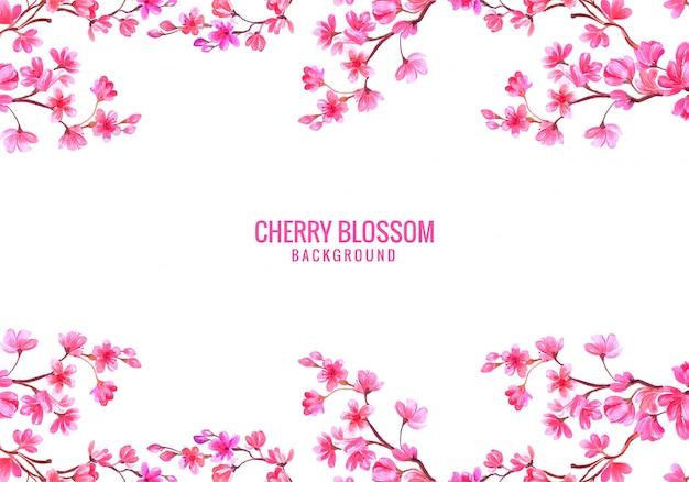 Roze decoratieve kersenbloesem achtergrond Gratis Vector