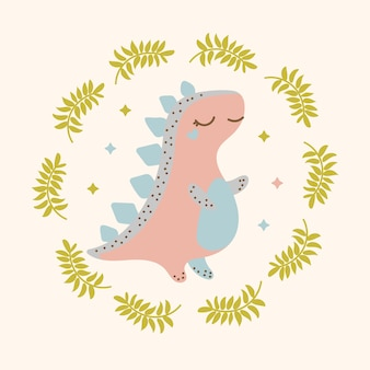 Roze dino hand getekend platte ontwerp cartoon prehistorische dieren illustratie