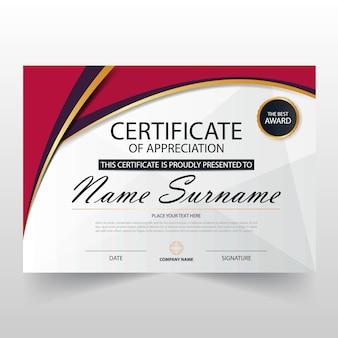 Roze elegant horizontaal certificaat met vector illustratie