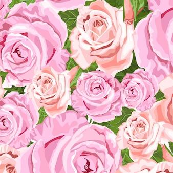 Roze en beige rozen vector bloemenachtergrond voor huwelijksuitnodigingen