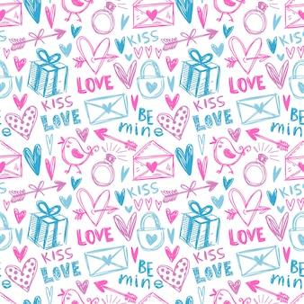 Roze en blauw handgeschilderd naadloos patroon met liefdesillustraties.