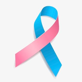 Roze en blauw lint bewustzijn mannelijke borstkanker, wiegendood (sids), prostaat- en borstkanker (gecombineerd), onvruchtbaarheid. geïsoleerd op een witte achtergrond. vector illustratie.