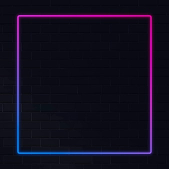 Roze en blauw neon frame neon frame op een donkere achtergrond