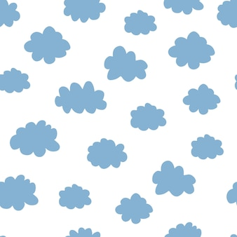 Roze en blauw wolken naadloos patroon. ontwerp baby illustratie voor stof, behang, voor kinderen goederen op een witte achtergrond.