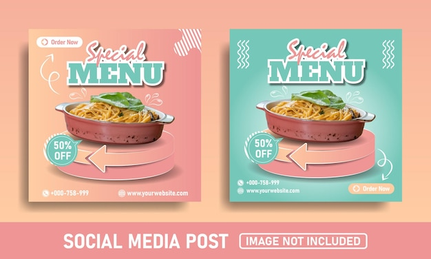 Roze en blauwe flayer social media post banner food template speciaal menu