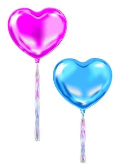 Roze en blauwe folie hartvorm ballonnen