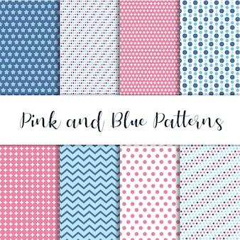 Roze en blauwe leuke patronen