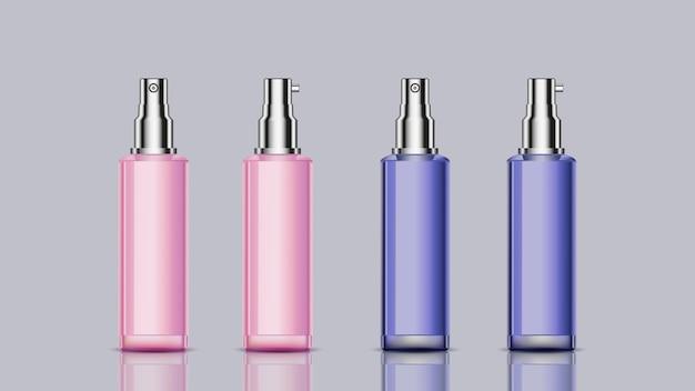 Roze en blauwe mockup kosmetische flessen voor ontwerpgebruik Premium Vector