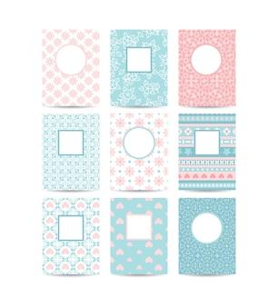 Roze en blauwe romantische kaartsjablonen