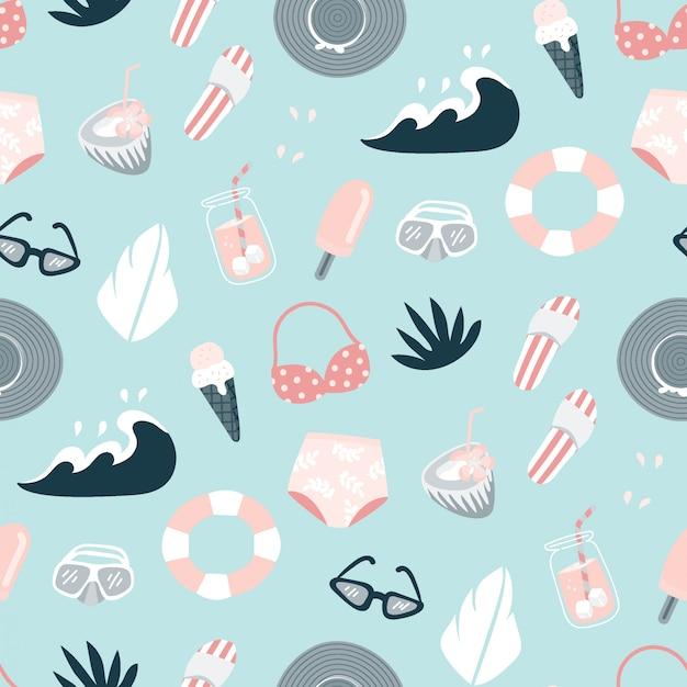 Roze en blauwe strand zomer patroon