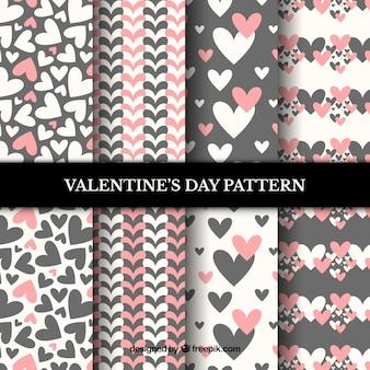 Roze en grijze valentijnsdag patroon set