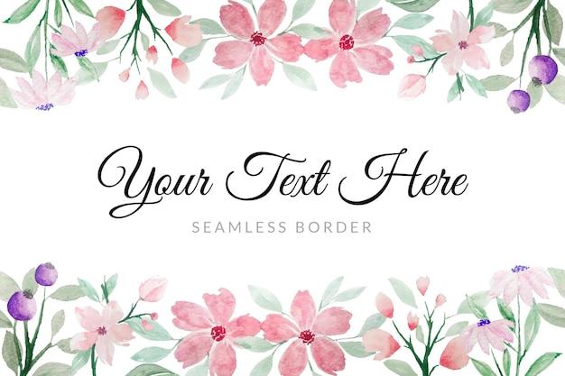 Roze en groene bloementuin aquarel naadloze grens