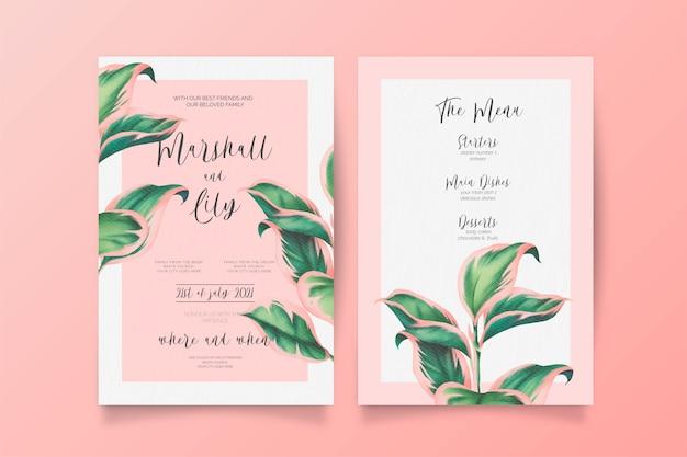 Roze en groene bruiloft uitnodiging en menusjabloon