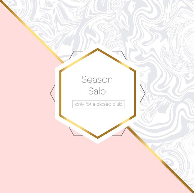 Roze en marmeren geometrische kaart met gouden frame