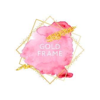 Roze en naakt penseelstreken en gouden kadersjabloon