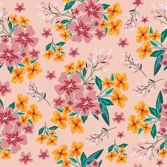 Roze en oranje bloem naadloos patroon