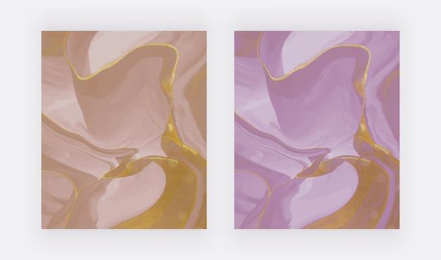Roze en paarse vloeibare inkt met gouden glitter textuur achtergronden.