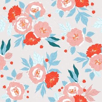 Roze en rood pioenrozen naadloos patroon.