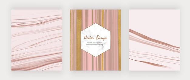 Roze en roségouden vloeibare inkt met gouden glitter en marmeren frame.