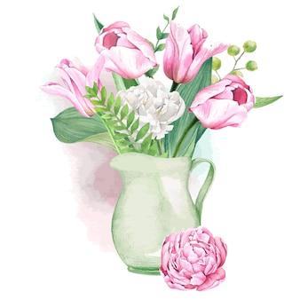 Roze en wit tulpen en varensboeket in kruik