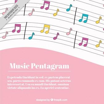 Roze en witte achtergrond met muziek notities in verschillende kleuren
