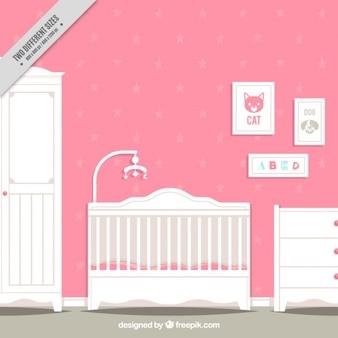 Roze en witte babykamer in plat design