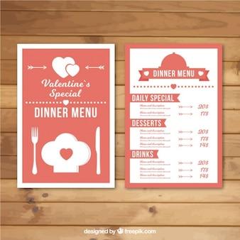 Roze en witte menu sjabloon voor valentijnsdag