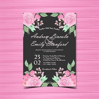 Roze en zwarte bloemen bruiloft uitnodigingskaart
