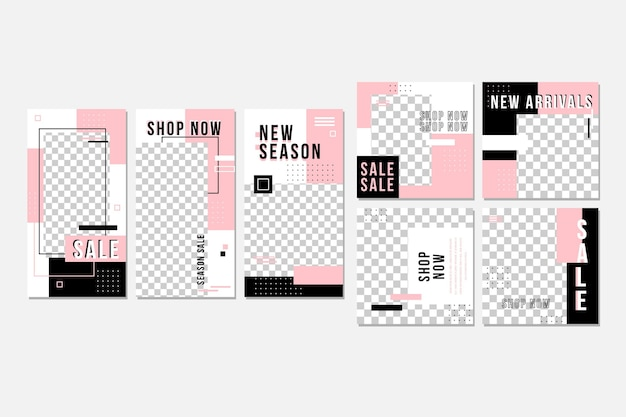 Roze en zwarte instagram-postverzameling