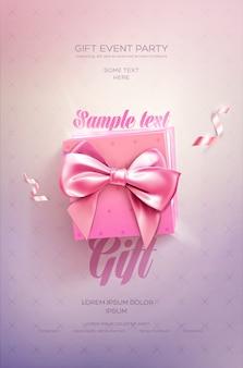 Roze feestelijke poster. bovenaanzicht op geschenkdoos en boog