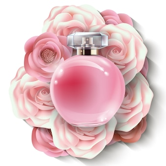 Roze flacon damesparfum met prachtige papieren bloemen. schoonheid en cosmetica achtergrond. gebruik voor reclamefolder, banner, folder. vector.vector sjabloon