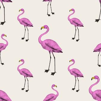 Roze flamingo behang