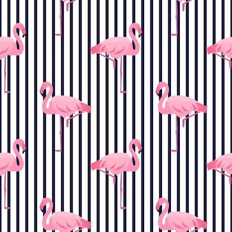 Roze flamingo naadloos gestreept patroon. zomer tropisch ontwerp.