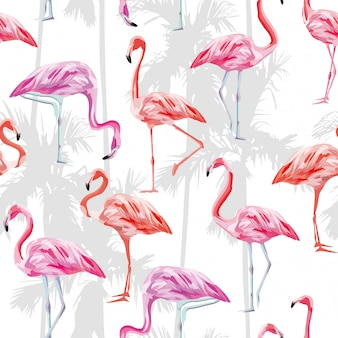 Roze flamingo naadloze patroon behang