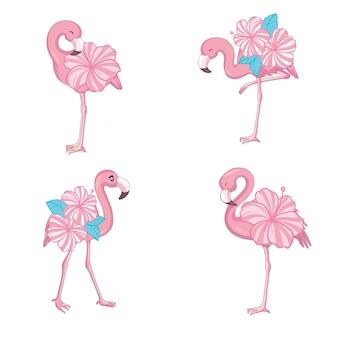 Roze flamingo vector cartoon platte set. exotische tropische vogel iconen collectie geïsoleerd op een witte achtergrond.