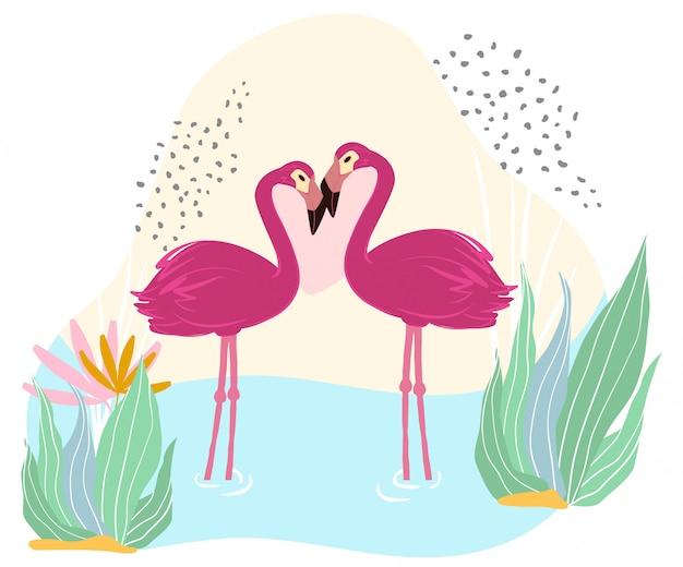 Roze flamingotribune in vijver, meer, het wild, afrikaanse aard, die op witte, vlakke illustratie wordt geïsoleerd. prachtig groot vogelpaar.