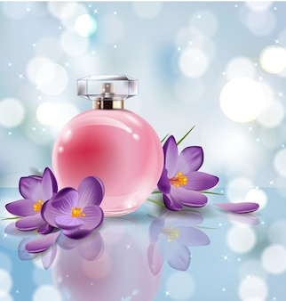 Roze fles damesparfum met lentebloemen krokussen op onscherpe achtergrond. vector sjabloon