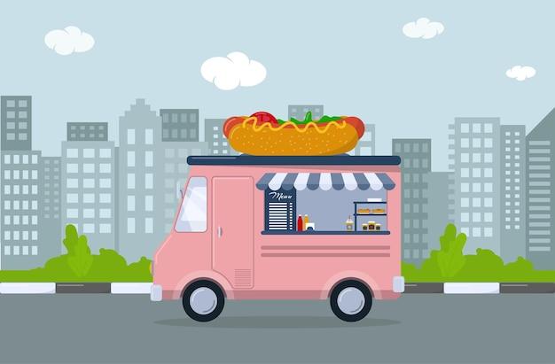 Roze foodtruck met hotdog. mobiel café in de stad. vector illustratie
