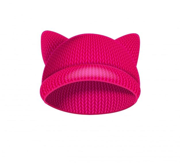 Roze gebreide hoed met kattenoren.