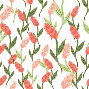 Roze gekleurde willekeurige korenaar elementen vormen naadloze patroon, geïsoleerde achtergrond. natuur afdrukken. grafisch ontwerp voor inpakpapier en stoffentexturen. vectorillustratie.