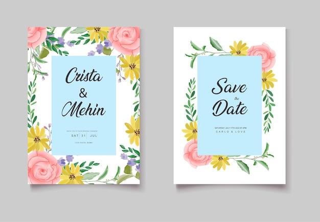 Roze gele aquarel bloemen uitnodiging auto's set
