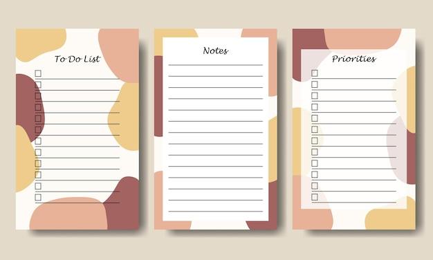 Roze gele pastel abstracte vorm takenlijst notities sjabloon afdrukbaar