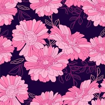 Roze gerbera-patroon. inkt bloemen achtergrond. naadloze botanische illustratie.