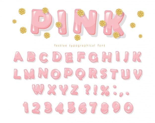 Roze glanzende lettertype