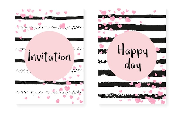 Roze glitter confetti met stippen en pailletten. bruiloft en vrijgezellenfeest uitnodigingskaarten set. verticale strepen achtergrond. tedere roze glitter confetti voor feest, evenement, save the date flyer.