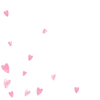 Roze glitter harten confetti op geïsoleerde achtergrond. vallende pailletten met glanzende glitters. ontwerp met roze glitterharten voor wenskaarten, vrijgezellenfeesten en bewaar de datumuitnodiging.