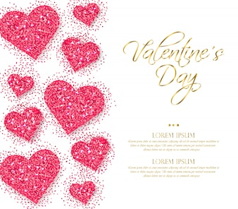 Roze glitter harten Valentine dag