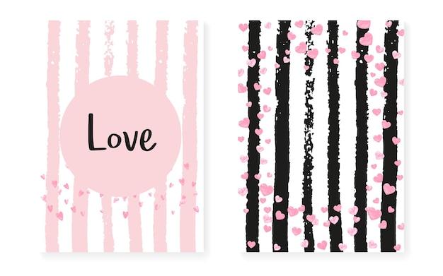 Roze glitter pailletten met stippen. bruiloft en vrijgezellenfeest uitnodigingskaarten set met confetti. verticale strepen achtergrond. creatieve roze glitter pailletten voor feest, evenement, save the date flyer.