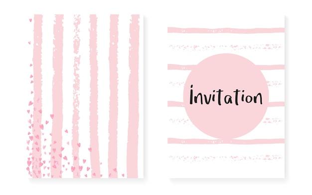Roze glitter stippen met pailletten. bruiloft en vrijgezellenfeest uitnodigingskaarten set met confetti. verticale strepen achtergrond. stijlvolle roze glitterstippen voor feest, evenement, save the date-flyer.